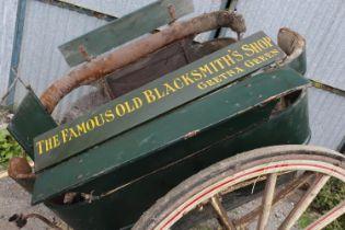 PONY GOVERNESS CAR,rail sided example, for restoration. W. Bow & Co., Edinburgh to one wheel hub.