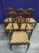Set of six 19th century mahogany dining chairs, slip in seats on square supports to include a carver