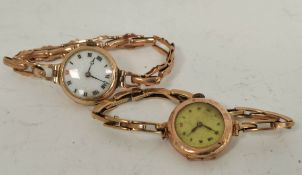Lady's 9ct gold 'red twelve' and another, both on expanding bracelets.