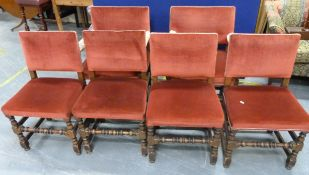Set of six Cromwellian style dining chairs, square upholstered backs and seat on turned supports