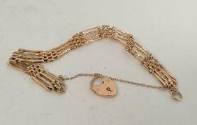 Gold gate bracelet with padlock '9ct', 8.8g.