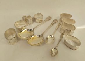Pair of silver salad servers with engraved pierced terminals, Sheffield 1901, various silver and