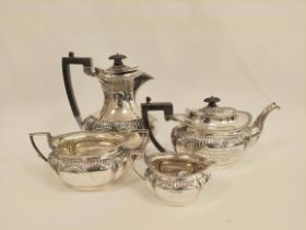 Silver four-piece tea set, oval part fluted, inscribed 'Half Morton 1902', Sheffield 1901. 1464g/