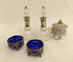 Pair of cut glass scent bottles with silver mounts, a pair of silver salts and a small cup and