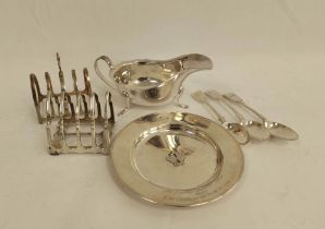 Silver circular dish, two individual toast racks, two tea spoons, 1870, another e.p. and a similar