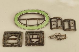 Pair of Georgian silver child's shoe buckles, C.1790, three others and a silver pin brooch.