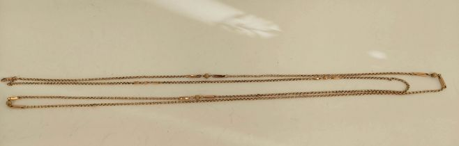 Victorian gold long chain of belcher, fetter and bead pattern. 21g.
