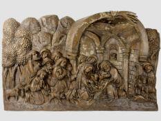 Anbetung des Kindes, Tirol um 1510, Lindenholz-Relief