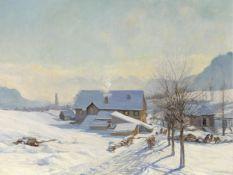 Adolf Helmberger, St. Gilgen 1885 – 1967 St. Gilgen, Blick auf St. Gilgen im Winter