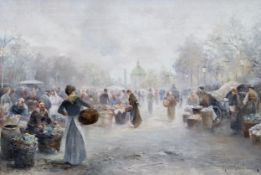 Emil Barbarini, Wien 1855 – 1930 Wien, Marktszene in Wien
