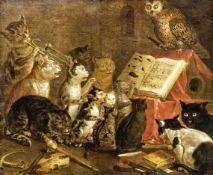 Katzenkonzert, Italien 17./18. Jahrhundert, Öl auf Leinwand