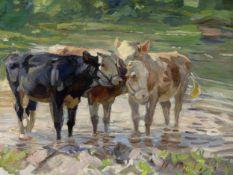 Heinrich von Zügel, Murrhardt 1850 – 1941 München, Kühe am Wasser
