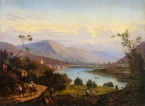 Blick auf Trient / Trentino, Biedermeier Gemälde