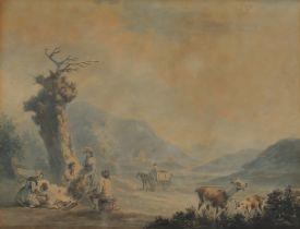 Pastorale Szene, Aquarell, 19. Jahrhundert