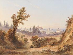Friedrich Horner, Basel 1800 – 1864 Basel, Blick auf den Petersdom in der Ferne?