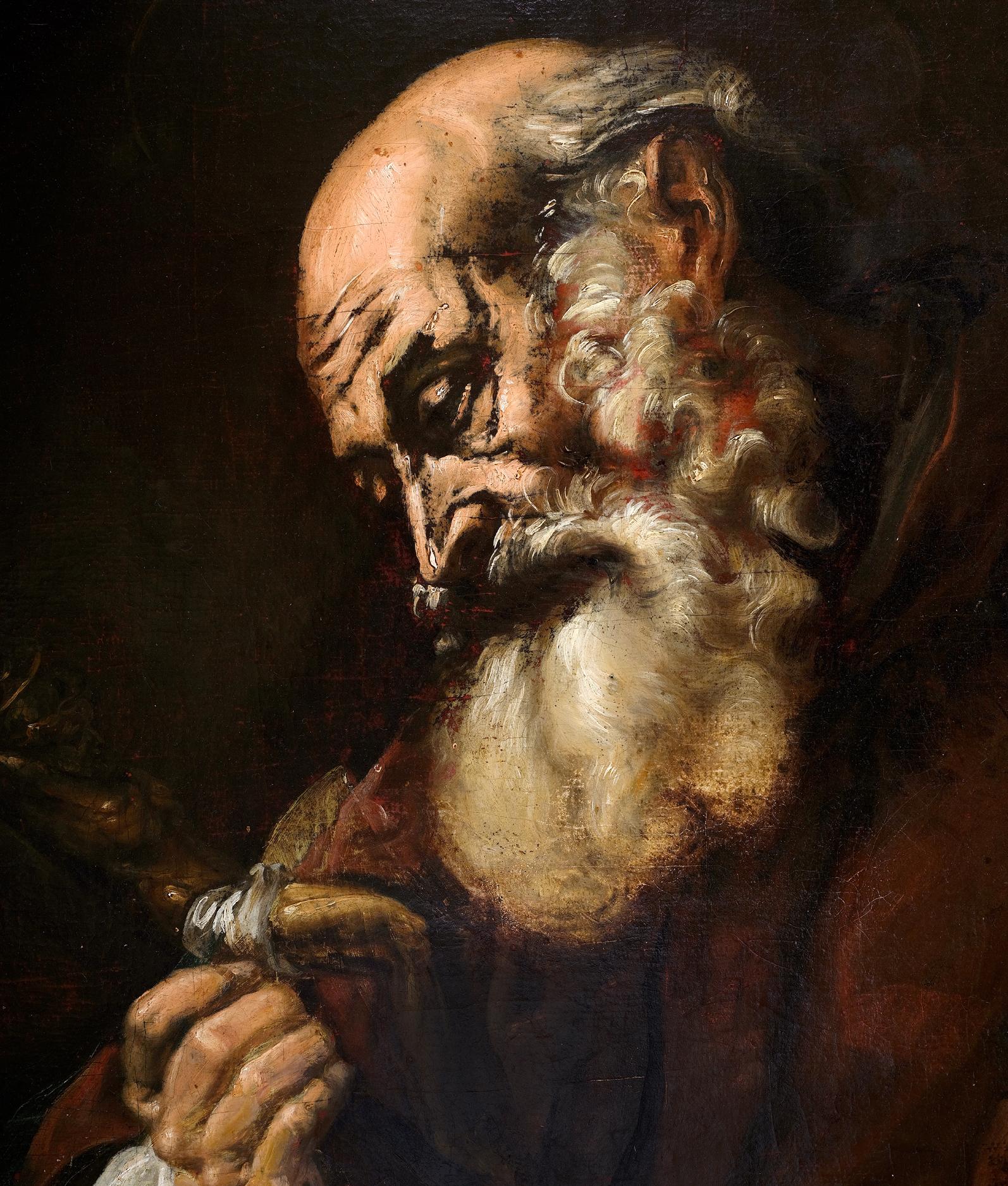 Tenebroso Giovanni Battista Langetti, Genua 1635 – 1676 Venedig (zug.), Portrait eines Heiligen - Image 3 of 5