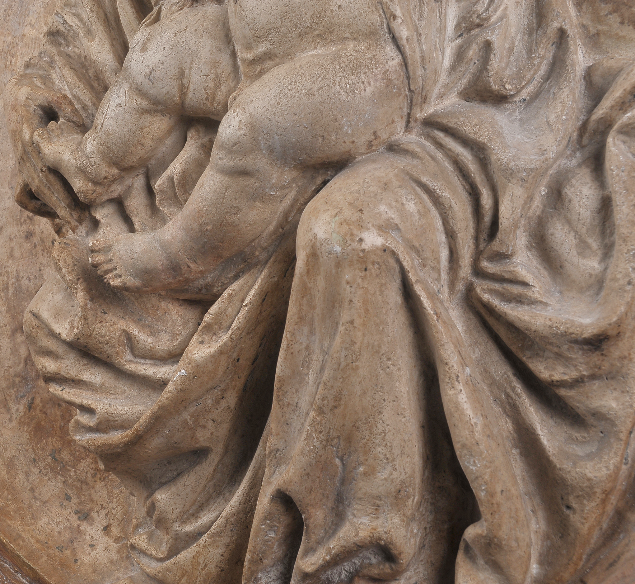 Tondo, Mutter mit Kind, Alabaster-Guss im Relief, um 1440 - Image 7 of 14