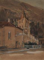 Thomas Ender, Wien 1793 – 1875 Wien (zugeschrieben), Ansicht einer Kirche in den Alpen, Aquarell
