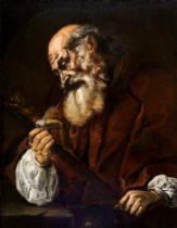 Tenebroso Giovanni Battista Langetti, Genua 1635 – 1676 Venedig (zug.), Portrait eines Heiligen