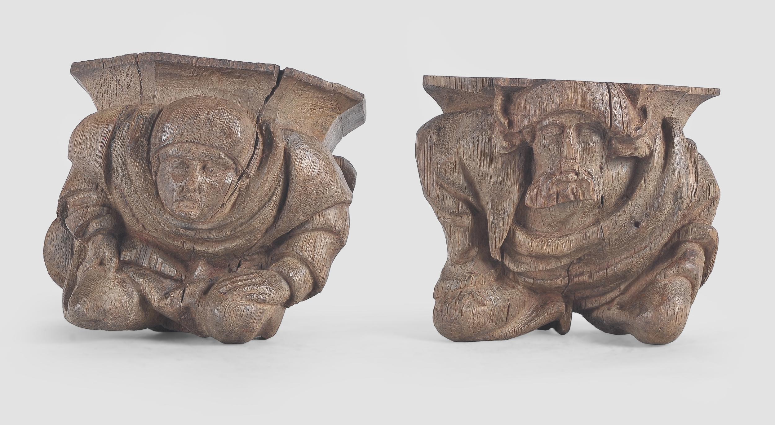 Paar Wandkonsolen, Französisch oder Flämisch um 1500