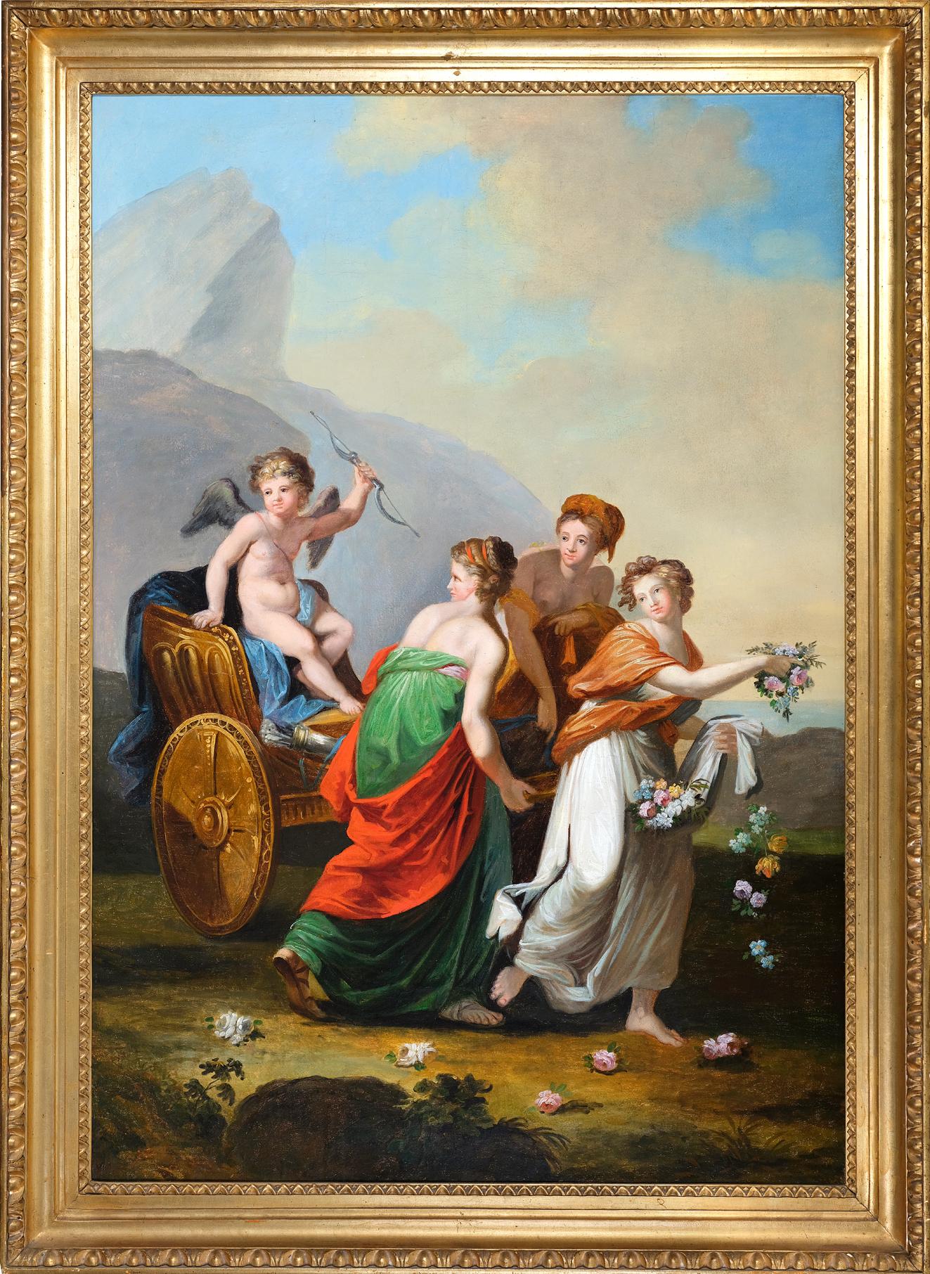 Amor im Streitwagen, Gemälde, Empire um 1790/1810 - Image 2 of 3