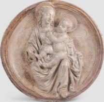 Tondo, Mutter mit Kind, Alabaster-Guss im Relief, um 1440