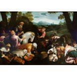 Leandro Bassano, Bassano del Grappa 1575 – 1622 Venedig (Werkstatt), Tiere an der Tränke