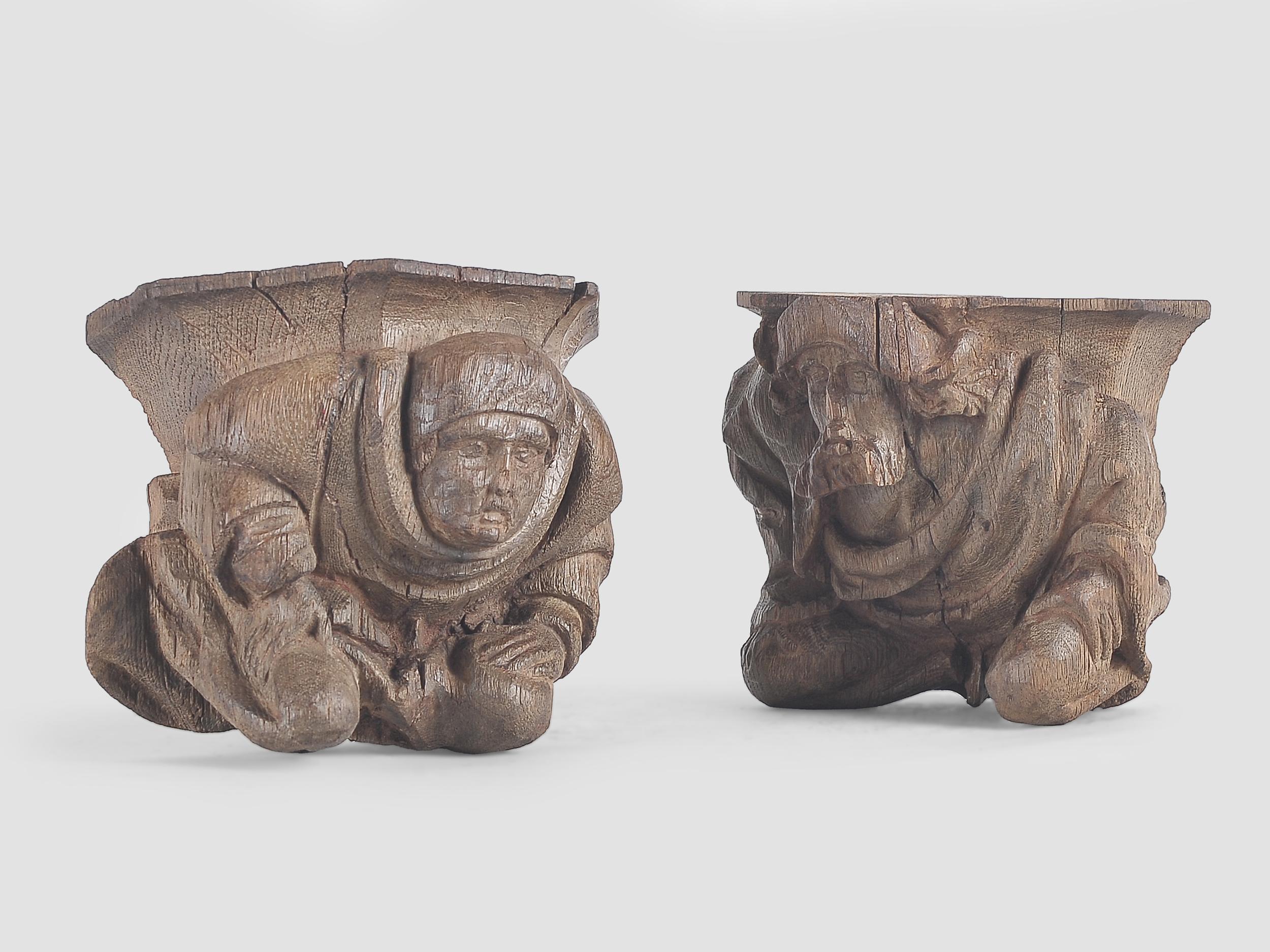 Paar Wandkonsolen, Französisch oder Flämisch um 1500 - Image 2 of 4
