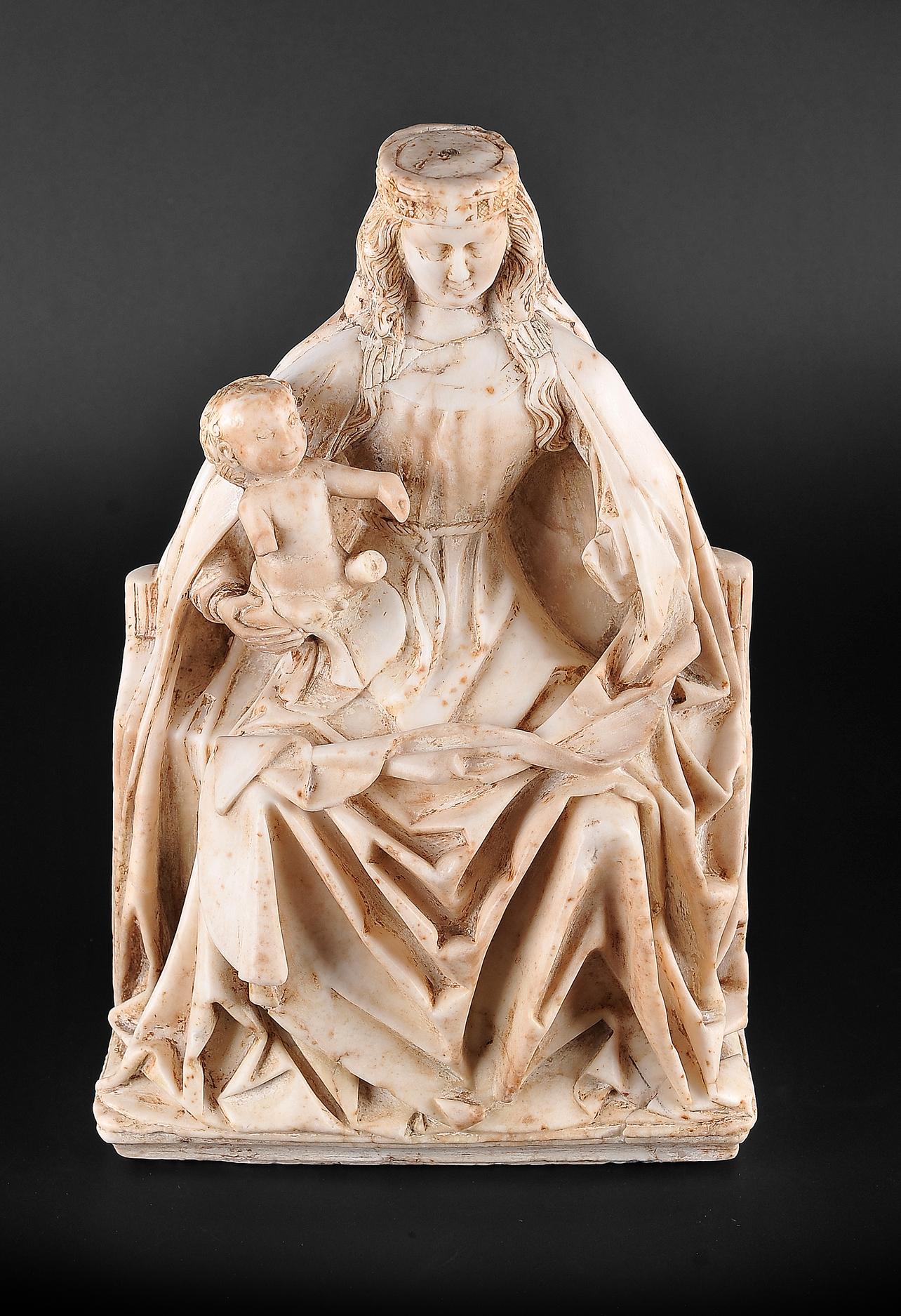 Gil de Siloe, Antwerpen 1440 – 1501 Burgos (und Werkstatt), Sitzende Madonna, um 1485/90 - Image 2 of 25