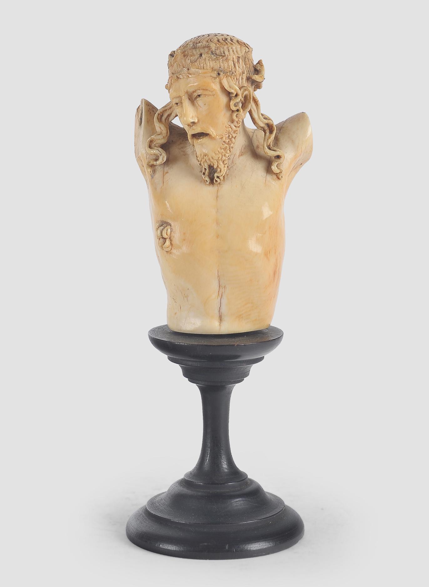 Museale Christus Büste, Spanien um 1500, Elfenbein