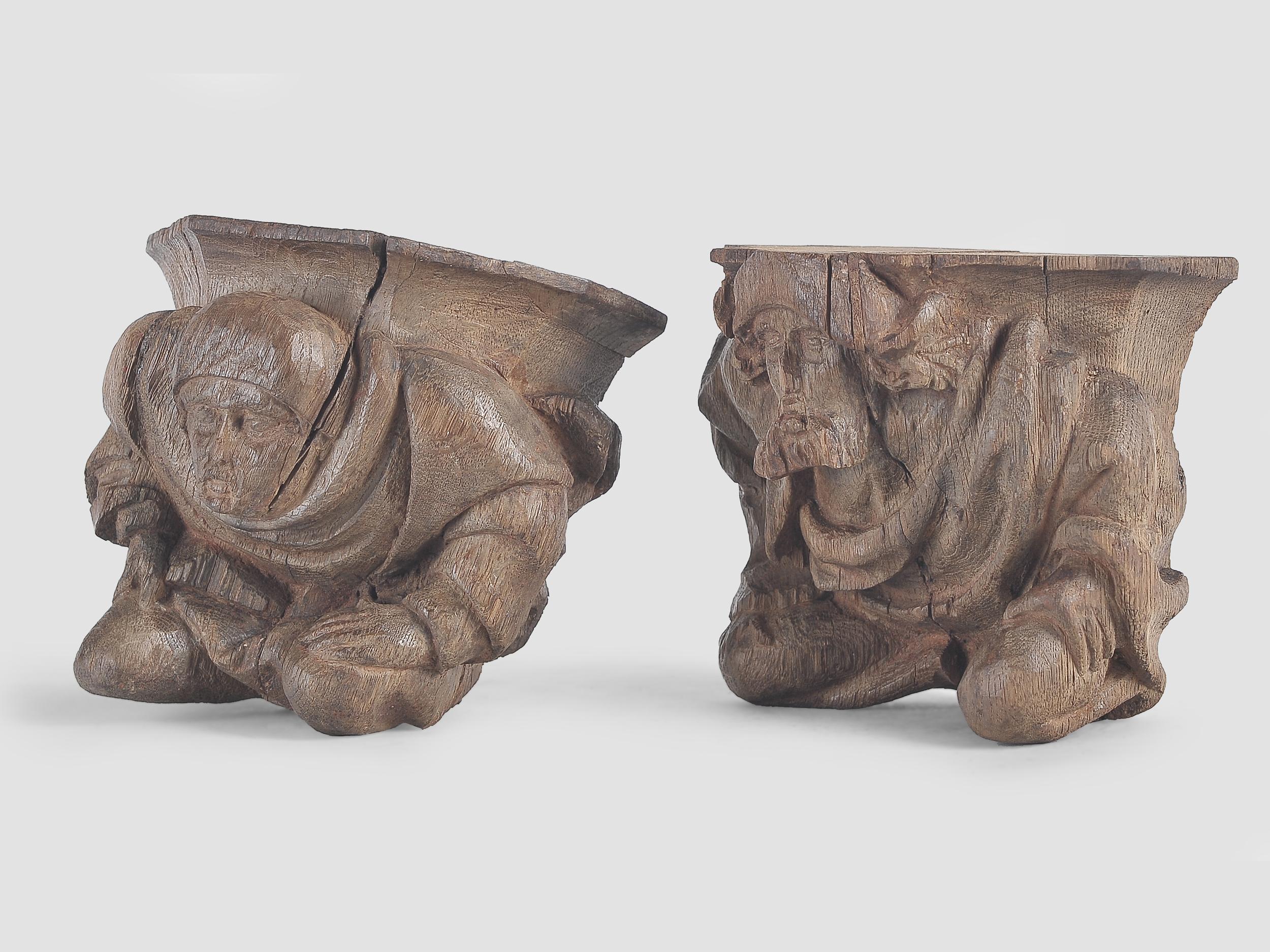 Paar Wandkonsolen, Französisch oder Flämisch um 1500 - Image 3 of 4