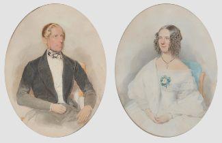 Albert Theer, Johannesberg 1815 – 1902 Wien, Paar Familienportraits, Aquarell