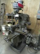 """BRIDGEPORT 1HP VERTICAL MILLING MACHINE, WITH POWER FEED BOX, 9"""" X 42"""" TABLE, 6"""" MACHINE VISE, 80-"""