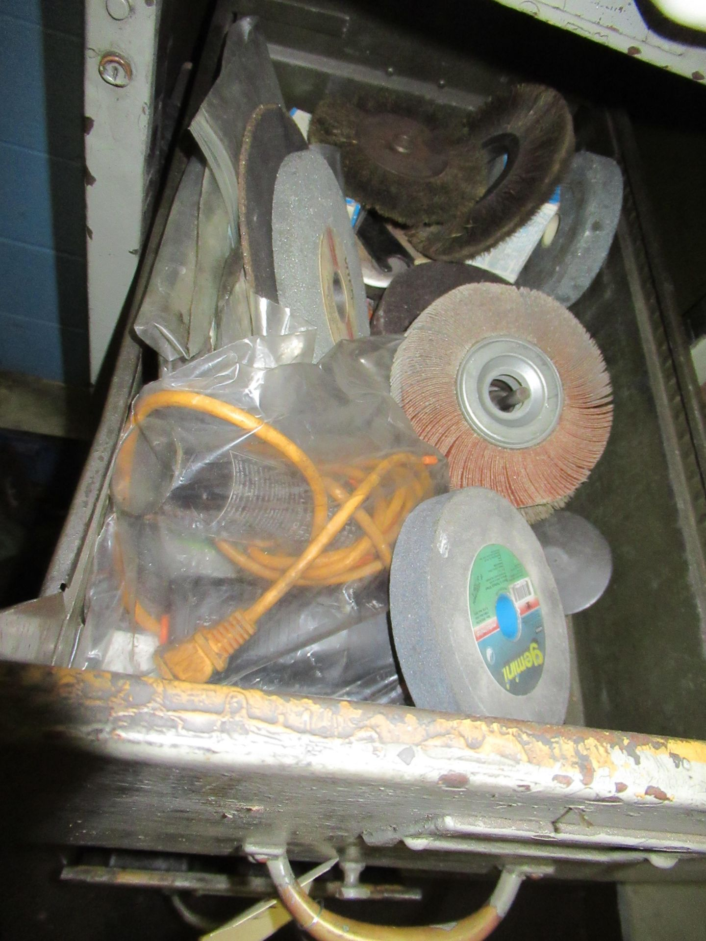 CABINETS OF ASSORTED SANDING WHEELS, GRINDING STONES CUT OFF BLADES, ETC - Image 2 of 4