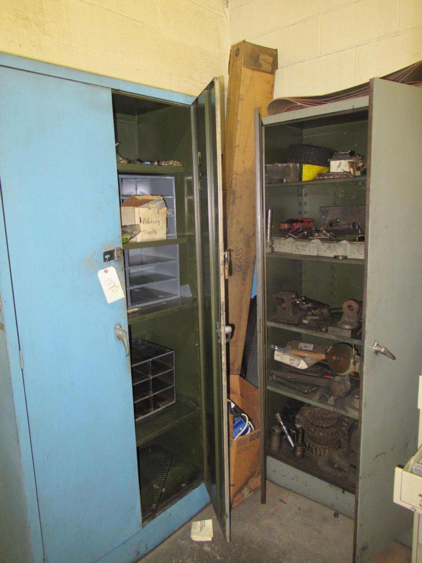 (2) STEEL CABINETS WITH ASSORTED TOOLING AND ACCESSORIES