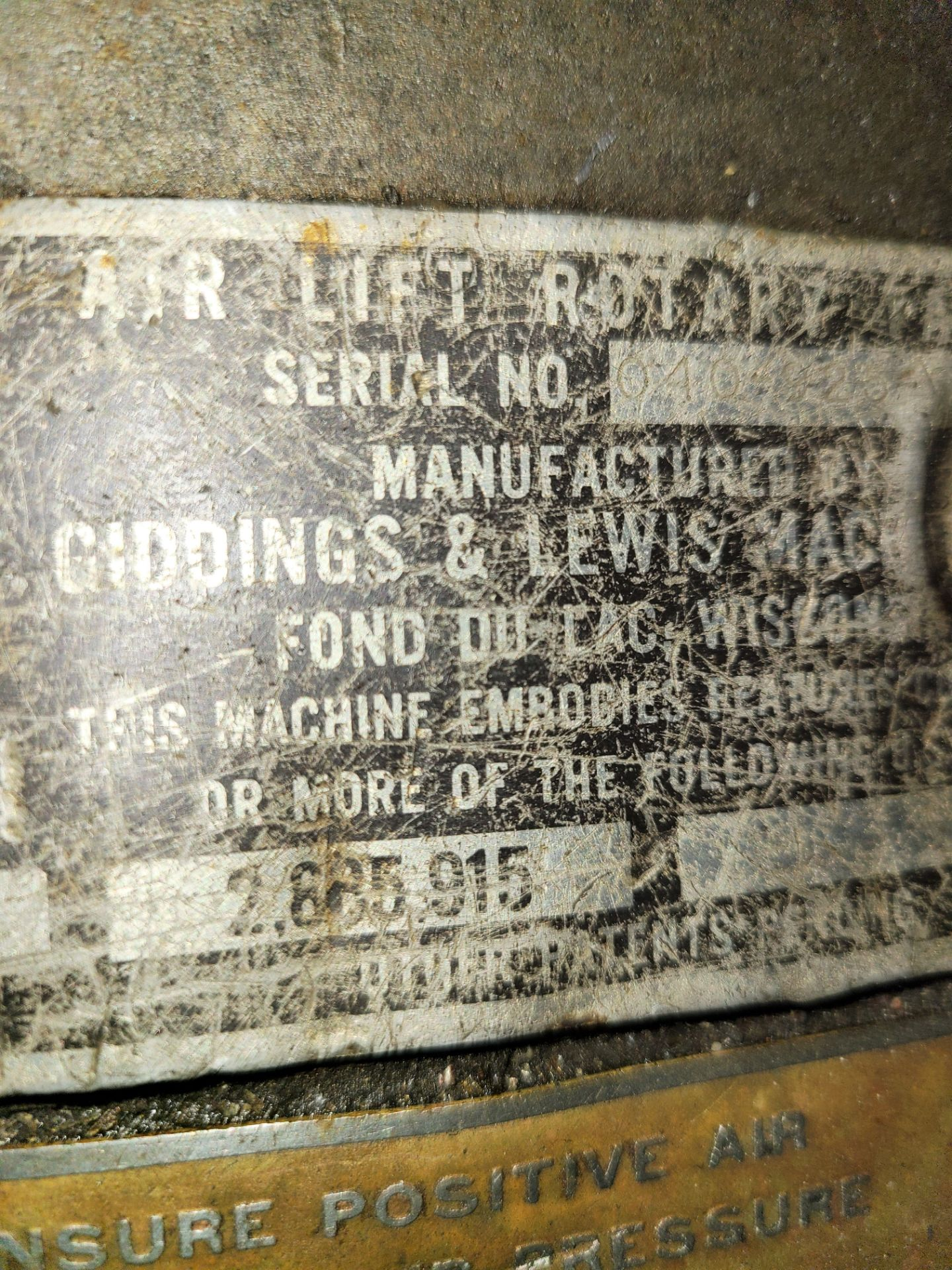 """48"""" X 30"""" GIDDING AND LEWIS AIR LIFT ROTARY TABLE - Image 3 of 3"""