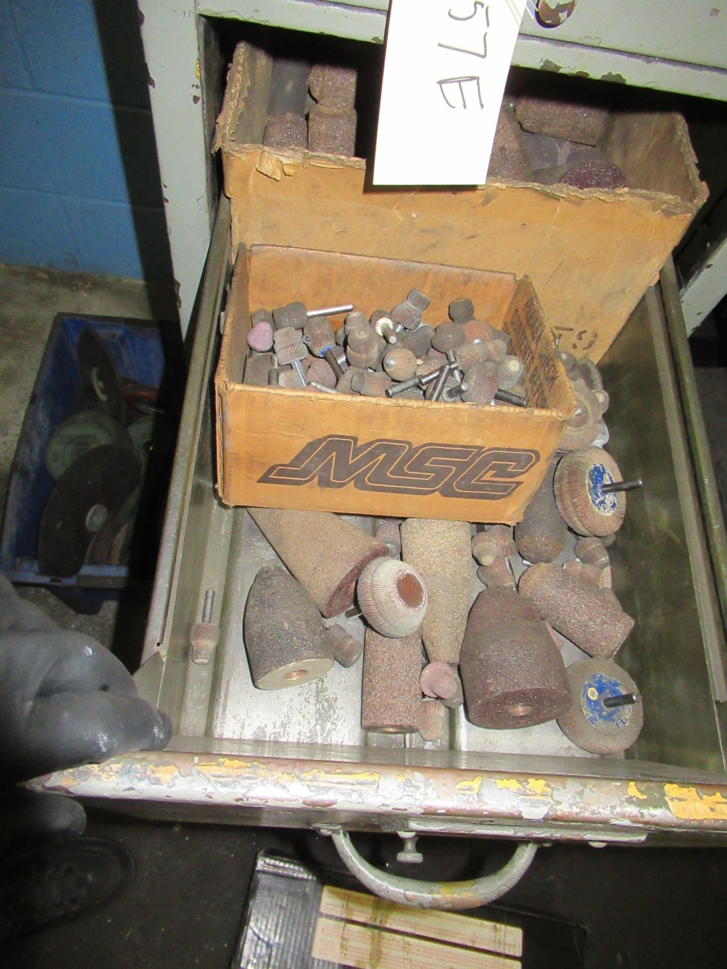 CABINETS OF ASSORTED SANDING WHEELS, GRINDING STONES CUT OFF BLADES, ETC - Image 3 of 4