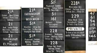 Pair of London Transport RT BUS DESTINATION BLINDS comprising a side/rear blind, coded S, from