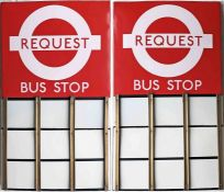 London Transport enamel BUS STOP FLAG (Request). An early 1980s 'roundel'-style, E9-size, double-