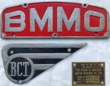 Selection (3) of Midland Red & Birmingham Corporation BUS BADGES comprising a 'BMMO' cast-alloy