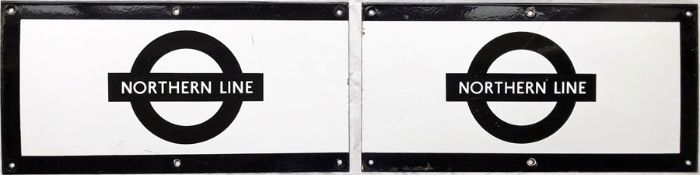 Pair of 1960s/70s London Underground enamel PLATFORM FRIEZE PLATES for the Northern Line, each