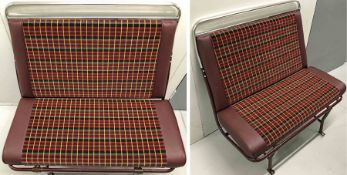 Complete BUS SEAT UNIT comprising frame, cushion, squab and two pairs of legs. The cushion and squab