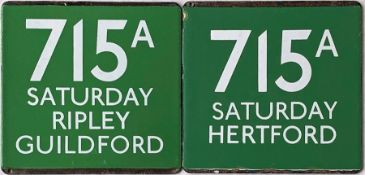 Pair of London Transport/London Country coach stop enamel E-PLATES for Green Line route 715A, one in