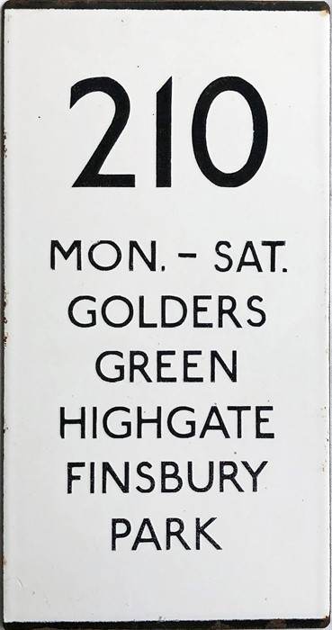 London Transport bus stop enamel E-PLATE for route 210, a double-vertical plate annotated 'Mon-