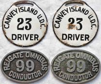 Pair of early 20th-century bus driver/conductor LICENCE BADGES, the first an enamel type for