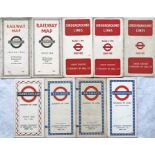 Selection (9) of 1930s-60s London Underground card, diagrammatic POCKET MAPS comprising issues No