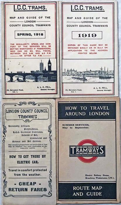 Selection (4) of London Tramways ephemera comprising 3 POCKETS MAPS: LCC Trams Spring 1918 & 1919