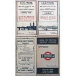 Selection (4) of London Tramways ephemera comprising 3 POCKETS MAPS: LCC Trams Spring 1918 & 1919