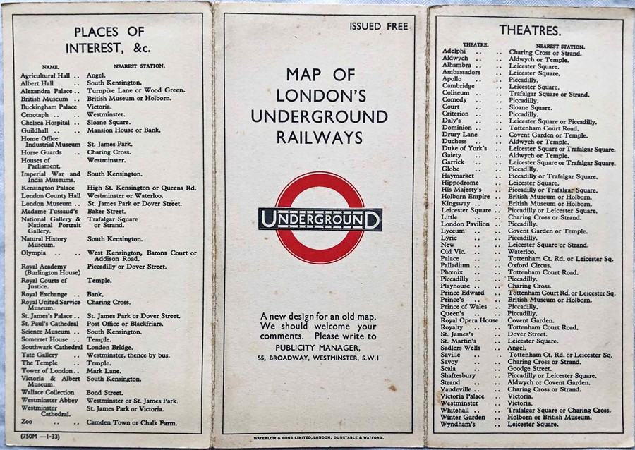 1933 first edition of the H.C. Beck London Underground diagrammatic card POCKET MAP with the - Image 2 of 2