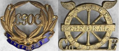 Pair of c1910 London General Omnibus Company CAP BADGES: the first is an Inspector's badge, brass